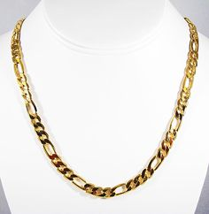 "18/"" MENS 8MM GOLD EP TEXTURED MARINER LINK NECKLACE CHAIN"