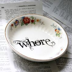 Atlas Globe Whore floral bowl by geekdetails on Etsy, $15.00