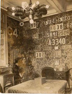 Manfred von Richthofen's room in East Prussia, decorated with trophies of his air victories during World War I.