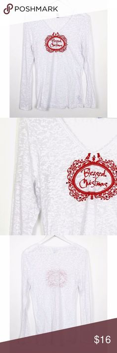 """Blessed Christmas White Burnout Long Sleeve Tee L Blessed Christmas White Burnout T-Shirt Sz L Red Detail Long Sleeve Holiday Top  Brand: Unbranded - """"Blessed Christmas"""" graphic holiday top Style:  Long sleeve v-neck burnout t-shirt Size: L Color: Red, white Material: 60% cotton, 40% polyester Measurements taken flat: -Across under arm: 17"""" -Shoulder to hem: 28"""" Garment Care: Machine wash, tumble dry  Condition: No flaws. See pictures for details. Tops Tees - Long Sleeve"""