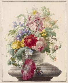 Bloemen in een glazen vaas met een vlinder, Herman Henstenburgh, ca. 1700
