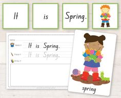 Free Spring Activities - Sentence cards and flash cards with a simple worksheet! My favorite Printables site! Spring Activities, Toddler Activities, Learning Activities, Sentence Writing, Writing Practice, Phonemic Awareness, Early Literacy, Teaching Tools, Grade 1