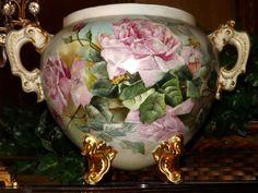 Limoges Monumental Jardiniere with Exquisite Pink Roses Antique China, Vintage China, Delft, Objets Antiques, Limoges China, Rose Vase, China Painting, Vintage Vases, Fine Porcelain