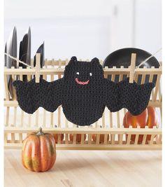 Adorable crochet bat dishcloth for #Halloween decor!