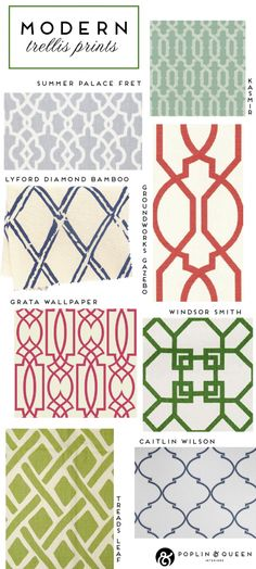 Loving the Trellis Prints for book shelves  #designisneverdone  #onekingslane