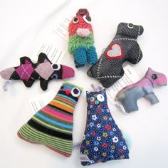 SALE 6 Small Handmade Plush Stuffed Animals Dogs Cats Platypus & Amigurumi