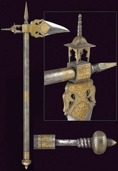 Indian zaghnal (war axe / warhammer), gold koftgari designs with a hidden dagger threaded into the base of the haft.
