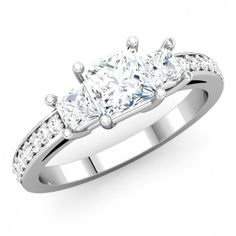 Comfort fit Three Stone Engagement Ring for Women