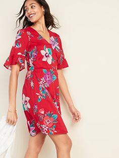 ba49fec2d2c Old Navy Women s Waist-Defined Bell-Sleeve Faux-Wrap Dress Red Floral  Petite Size L