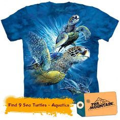 Dazzle your friends with the stylish Find 9 Sea Turtles Kids T-Shirt from The Mountain. Shop our huge selection of animal tees and wear one every day of the week! Tie Dye T Shirts, Tee Shirts, Turtle Shirts, Hidden Images, Screen Printing, Sea Turtles, Just For You, Prints, Aquatic Animal