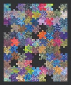 Puzzle piece quilt. Not as hard as it looks because the pieces are all squares.