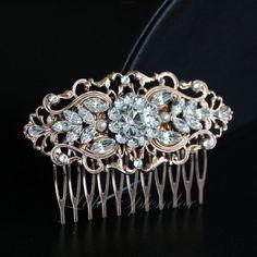 Rose Gold Wedding Hair Comb Art Deco Bridal Hair by LuluSplendor