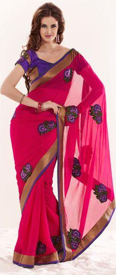 Rani Pink Faux Chiffon Saree with Double Blouse @ $78.60