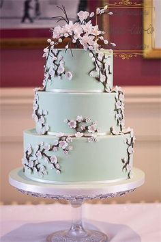 Pastel wedding cake with cherry blossom | Spring Wedding Inspiration - why choose a Spring Wedding? | Blog from Vintage Partyware | Vintage, eclectic and Boho Hire for Weddings, Parties and Events in Norfolk, Cambs and Lincs.
