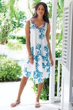 Caribbean Coral Dress - Coral Dress, Women's Cotton Dress   Soft Surroundings