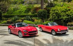 Download wallpapers Fiat 124 Spider, evolution, 2018 cars, 1968 cars, roadster, italian cars, Fiat