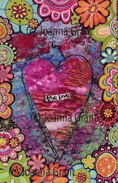 Joanna Grant: Gelli Arts - Gel Printing Plate; Gelli print enhanced with flower doodles.
