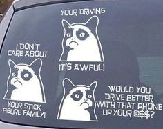 Grumpy Cat car decals - they're awful........hilarious!