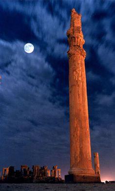 Iran. Persepolis ruins at night, Fars