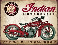 "x Metal ""Indian"" Motorcycle Model 101 Indian Scout Sign.Vintage look. Indian Scout, Motos Vintage, Vintage Indian Motorcycles, Vintage Bicycles, Motorcycle Posters, Motorcycle Style, Motorcycle Garage, Ninja Motorcycle, Motorcycle Tips"