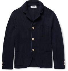 Ribbed Wool Cardigan | This Thom Browne cardigan is inspired by the silhouette of a blazer yet is infinitely more comfortable. It's spun from plush wool and has gold buttons embossed with a dachshund – the motif is inspired by Mr Browne's pet dog, Hector. | MR PORTER
