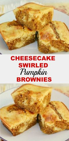 Best of both worlds ! Cheesecake and Pumpkin Brownie swirled all together and so easy to make too ~ These are *the* Fall dessert treat your family will love !