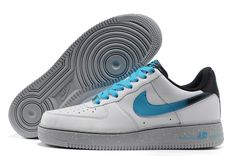Billiga Nike Air Force 1 Låg Herr Trainers Grå Spot Vit/Blå