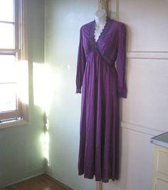 Grape Purple Cabaret/Boudoir/Burlesque Dressing Gown - Large, Empire Waist Purple Robe; Dusty Purple Lace Embellished - Mae West/Von Teese