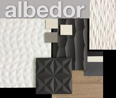 Add grey and white accents to create organic texture with Albedor Decorative Panels