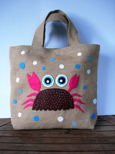 Ultimate Summer  beach fashion Eco friendly  Jute tote handbag / vacations/ handmade / all to carry/ the pink crab