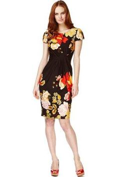 SLASH NECK ROSE PRINT SHIFT DRESS