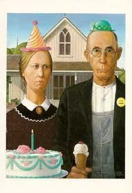 greetng cards that feature a parody of Grant Wood's American Gothic painting of a farm couple (father and daughter) in rural America American Gothic Painting, American Gothic House, Grant Wood American Gothic, American Gothic Parody, American Art, American History, Art Grants, Mona Lisa, Famous Artwork