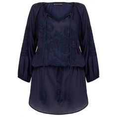 Vix Amy Indigo Kaftan (345 ILS) ❤ liked on Polyvore featuring tops, tunics, blue, ruched tops, blue tunic, round top, blue top and rayon tunic