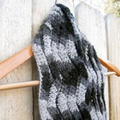 A simple pattern is used to create the interesting pattern for this crochet rippled scarf. (Pattern requires user to sign up)