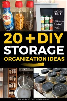 Are you struggling to find genius storage ideas for your house? Here are 20+ Best storage and organization ideas that will declutter your any space now. #diy #storage #organization Storage Hacks, Diy Storage, Storage Solutions, Storage Organization, Storage Ideas, Mason Jar Storage, Diy Kitchen Storage, Mason Jars, Grocery Lists