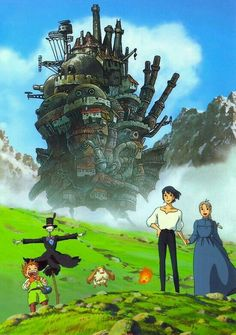 Howl's Moving Castle (ハウルの動く城 Hauru no Ugoku Shiro) is a 2004 Animated Adaptation of Diana Wynne Jones' novel Howl's Moving Castle. It was directed by Hayao Miyazaki and made at Studio Ghibli, … Hayao Miyazaki, Studio Ghibli Art, Studio Ghibli Movies, Studio Ghibli Poster, Film Anime, Anime Art, Personajes Studio Ghibli, Film Animation Japonais, Couples Anime