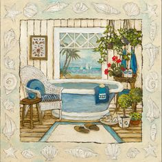 Sea Breeze Bath I  Art Print  by Charlene Olson