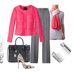 Etcetera | Summer 2016: J'ADORE hot pink jacket with FELLINI black and white tweed pants. www.etcetera.com.