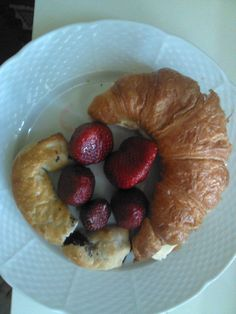 French-Slovak inspired breakfast: Croissant and traditional Bratislava pastry (Bratislavsky rozhok) filled with poppy seed with fresh strawberries!