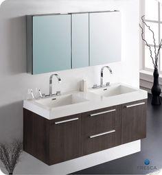 Fresca Gray Oak Modern Double Sink Bathroom Vanity w/ Medicine Cabinet & Faucets