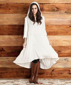 Love this Winter White Cable-Knit Hooded Hi-Low Dress by Reborn Collection on #zulily! #zulilyfinds