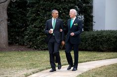 President Barack Obama and Vice President Joe Biden walk to the motorcade on the South Lawn of the White House for departure en route to the U.S. Capitol in Washington, D.C. for a St. Patrick's Day lunch, March 17, 2015. (Official White House Photo by Pete Souza)This official White House photograph is being made available only for publication by news organizations and/or for personal use printing by the subject(s) of the photograph. The photograph may not be manipulated in any way and may…