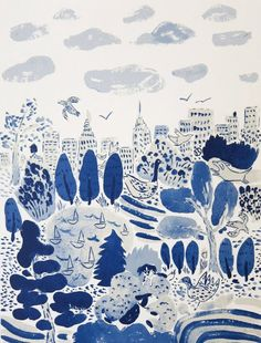 Central Park by Bella Foster (silkscreen print) I want something like this that does not cost 150 bucks for my living room when I leave NYC. Art And Illustration, Gravure Illustration, Illustrations, Guache, You Draw, Central Park, Art Central, Art Photography, Landscape Photography