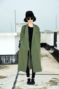 Coat: green, army green, army green jacket, trench coat, long coat, long trench coat, jacket, winter jacket, winter outfits - Wheretoget