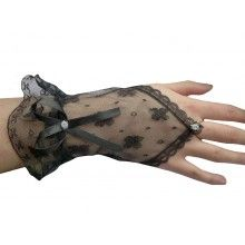 BLACK WITCHY LACE VICTORIAN FINGERLESS RING GOTHIC FANCY DRESS GLOVES