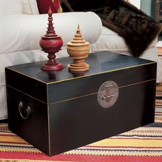 Chinese Wooden Storage Trunk Large & Chinese Wooden Storage Trunk Square - Red by Oka $442 | Furniture ...