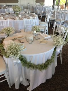 Baby's Breath with Baby's Breath Ties for Sweetheart Table