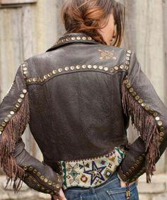 Great leather western jacket with fringe