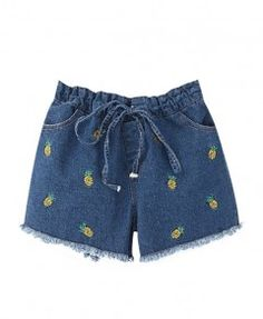 Vintage Pineapple Embroidery Denim Shorts With Raw Edge