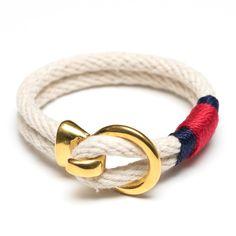 Open Hook Clasp Bracelet - Ivory/Navy/Red/Gold